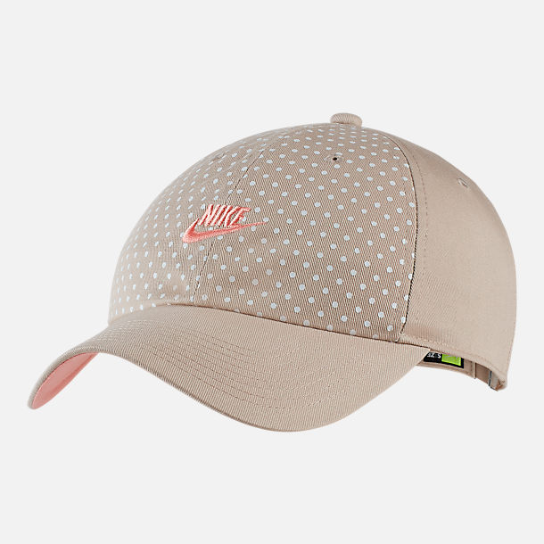 Front view of Women's Nike Sportswear Heritage86 Adjustable Back Hat in String/Bleached Coral