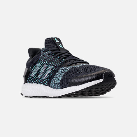 Three Quarter view of Men's adidas UltraBOOST ST x Parley Running Shoes in Legend Inkn/Clear Mint/Aqua
