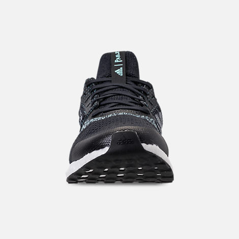Front view of Men's adidas UltraBOOST ST x Parley Running Shoes in Legend Inkn/Clear Mint/Aqua