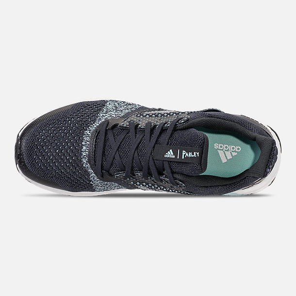 Top view of Men's adidas UltraBOOST ST x Parley Running Shoes in Legend Inkn/Clear Mint/Aqua