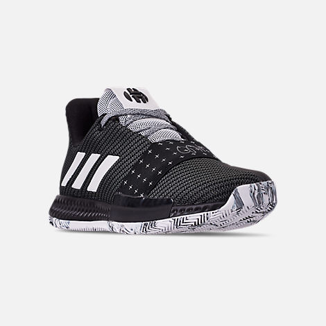 Three Quarter view of Boys' Grade School adidas Harden Vol.3 Basketball Shoes in Black/White/Black