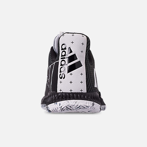 Back view of Boys' Grade School adidas Harden Vol.3 Basketball Shoes in Black/White/Black