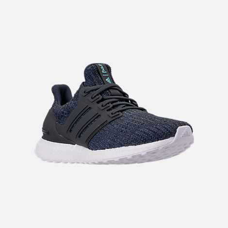 Three Quarter view of Men's adidas UltraBOOST Parley Running Shoes in Legend Ink/Carbon/Blue Spirit