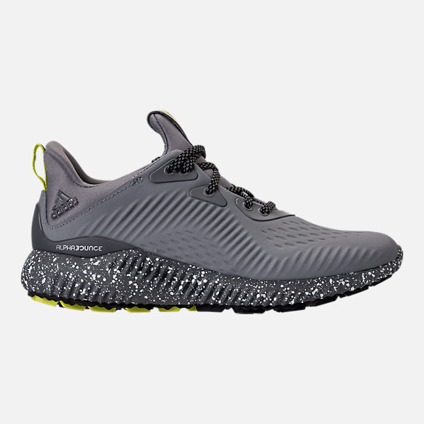 Right view of Boys' Grade School adidas AlphaBounce EM Running Shoes in Black/Grey/Semi Solar Yellow