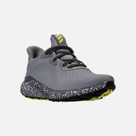 Three Quarter view of Boys' Grade School adidas AlphaBounce EM Running Shoes in Black/Grey/Semi Solar Yellow
