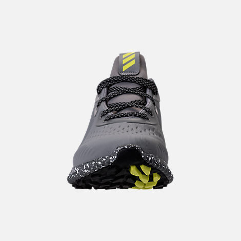 Front view of Boys' Grade School adidas AlphaBounce EM Running Shoes in Black/Grey/Semi Solar Yellow