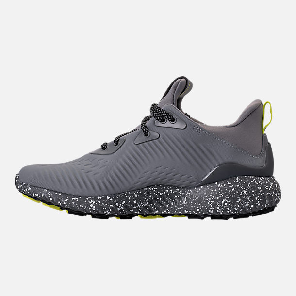Left view of Boys' Grade School adidas AlphaBounce EM Running Shoes in Black/Grey/Semi Solar Yellow