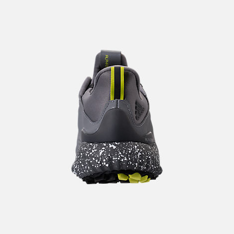 Back view of Boys' Grade School adidas AlphaBounce EM Running Shoes in Black/Grey/Semi Solar Yellow