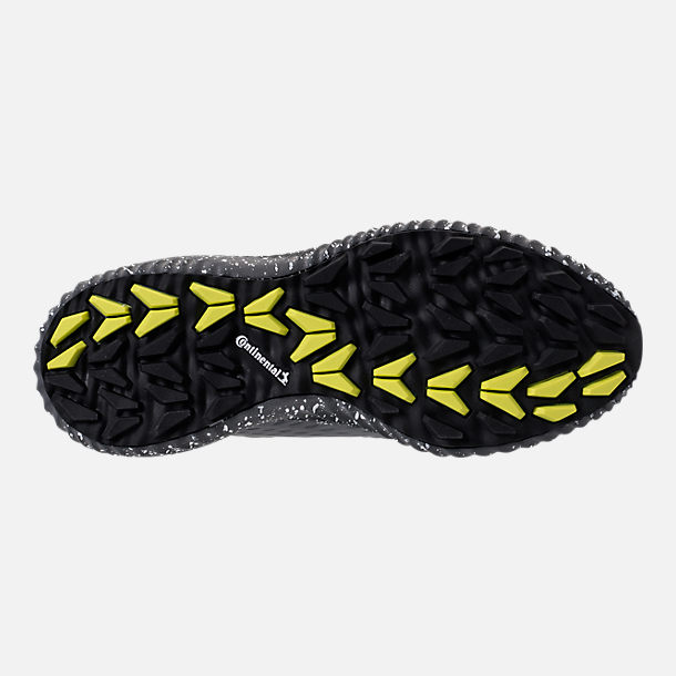 Bottom view of Boys' Grade School adidas AlphaBounce EM Running Shoes in Black/Grey/Semi Solar Yellow