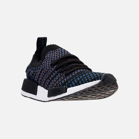 Three Quarter view of Women's adidas NMD R1 STLT Primeknit Casual Shoes in Core Black/Ash Pink/Noble Indigo
