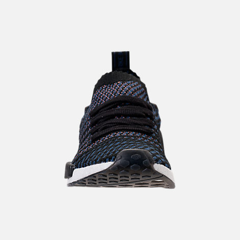 Front view of Women's adidas NMD R1 STLT Primeknit Casual Shoes in Core Black/Ash Pink/Noble Indigo