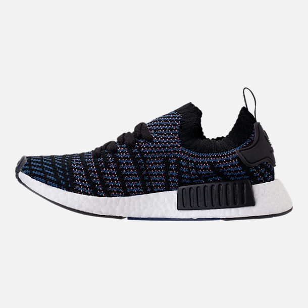 Left view of Women's adidas NMD R1 STLT Primeknit Casual Shoes in Core Black/Ash Pink/Noble Indigo