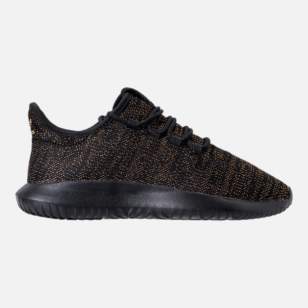Right view of Girls' Grade School adidas Tubular Casual Shoes in Black/Gold/Metallic