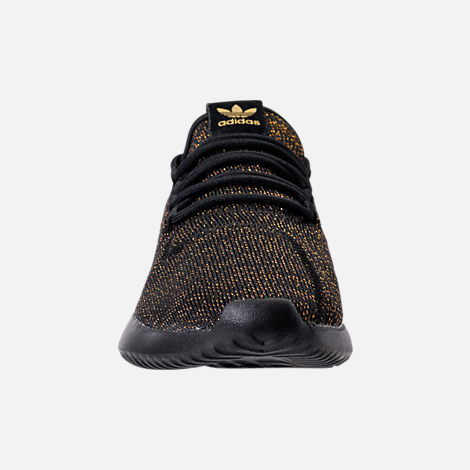 Front view of Girls' Grade School adidas Tubular Casual Shoes in Black/Gold/Metallic