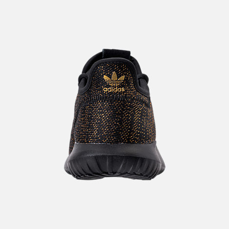 Back view of Girls' Grade School adidas Tubular Casual Shoes in Black/Gold/Metallic