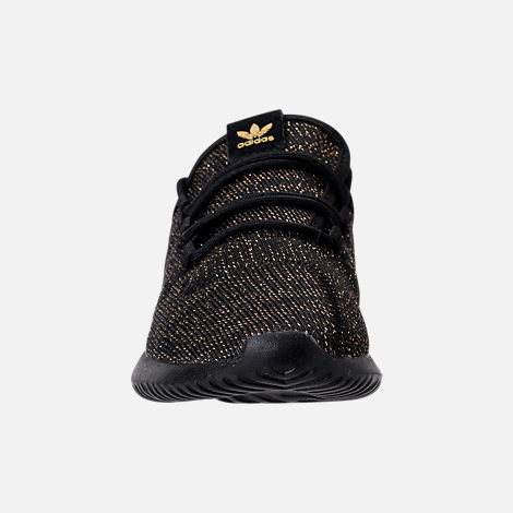 Front view of Girls' Preschool adidas Tubular Casual Shoes in Black/Gold Metallic