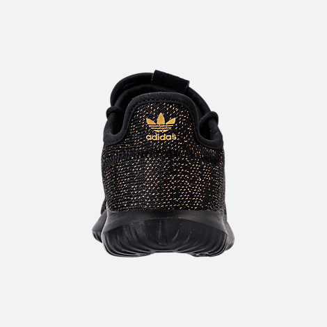 Back view of Girls' Preschool adidas Tubular Casual Shoes in Black/Gold Metallic