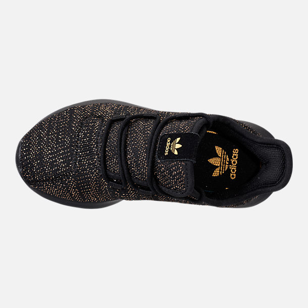 Top view of Girls' Preschool adidas Tubular Casual Shoes in Black/Gold Metallic