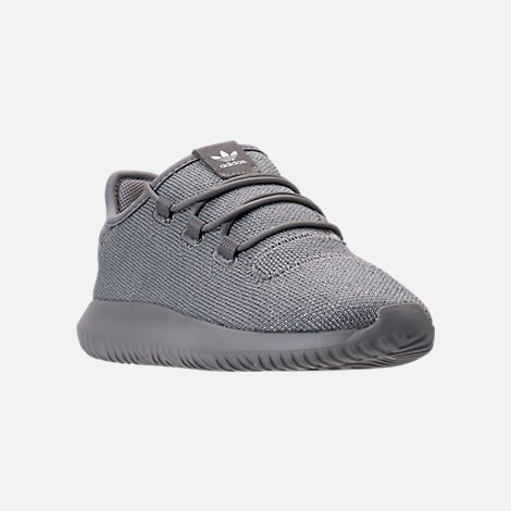 Three Quarter view of Girls' Preschool adidas Tubular Shadow Casual Shoes in Grey/Silver Metallic