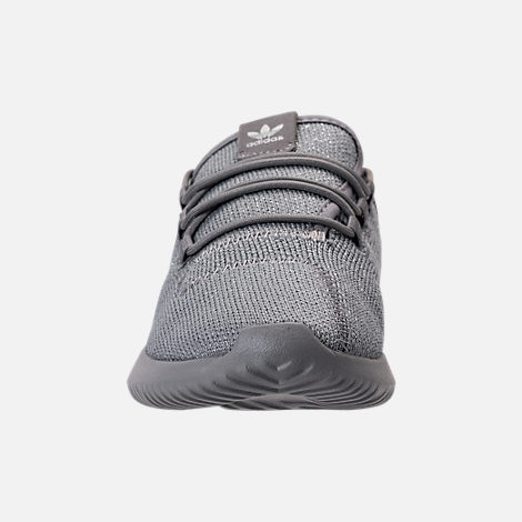 Front view of Girls' Preschool adidas Tubular Shadow Casual Shoes in Grey/Silver Metallic