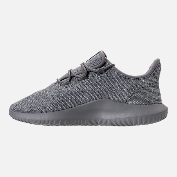 Left view of Girls' Preschool adidas Tubular Shadow Casual Shoes in Grey/Silver Metallic