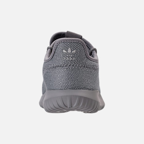 Back view of Girls' Preschool adidas Tubular Shadow Casual Shoes in Grey/Silver Metallic