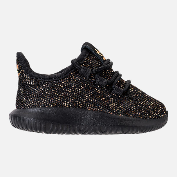 Right view of Girls' Toddler adidas Tubular Casual Shoes in Black/Gold Metallic
