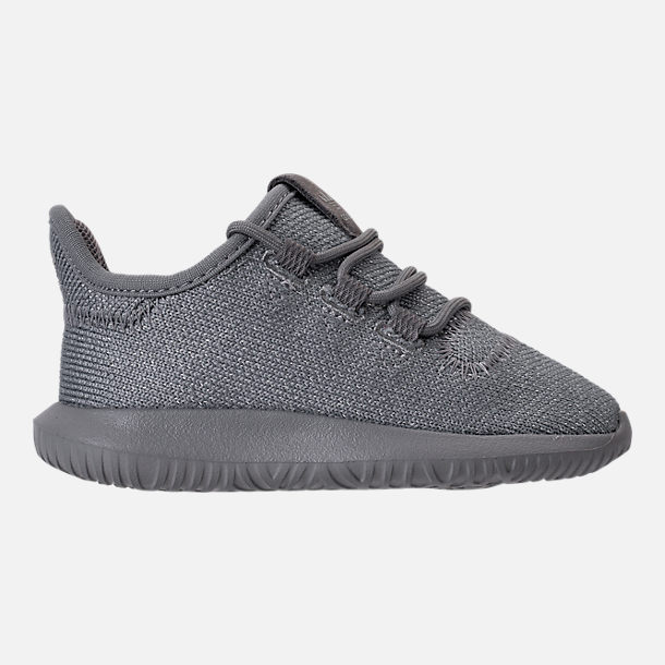 Right view of Girls' Toddler adidas Tubular Shadow Casual Shoes in Grey/Silver Metallic