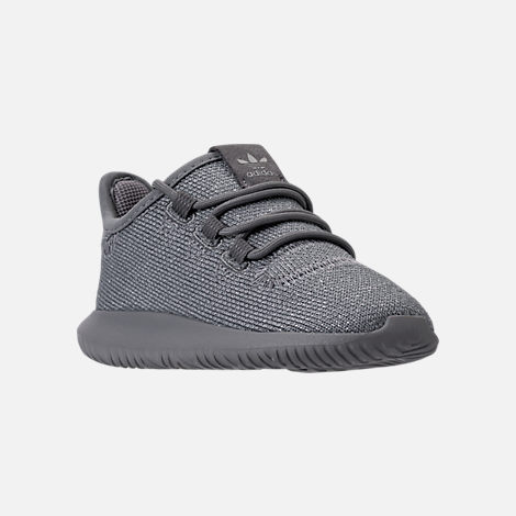 Three Quarter view of Girls' Toddler adidas Tubular Shadow Casual Shoes in Grey/Silver Metallic