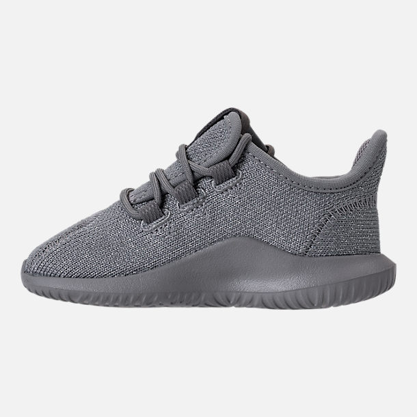Left view of Girls' Toddler adidas Tubular Shadow Casual Shoes in Grey/Silver Metallic