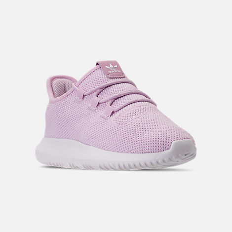 Three Quarter view of Girls' Little Kids' adidas Tubular Shadow Casual Shoes in Aero Pink/White