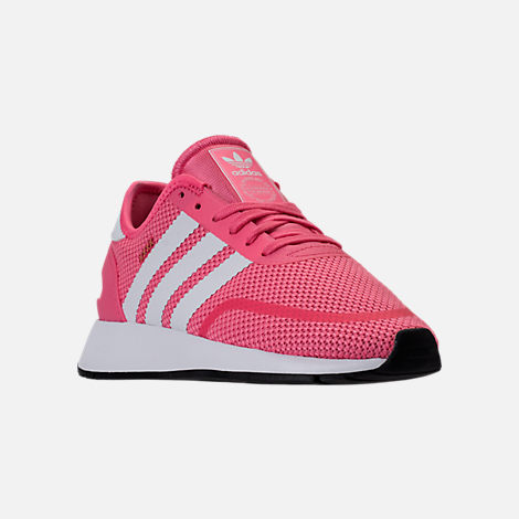 Three Quarter view of Girls' Big Kids' adidas N-5923 Casual Shoes in Chalk Pink/White