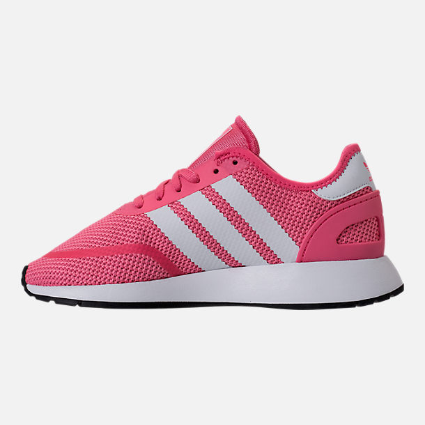 Left view of Girls' Grade School adidas N-5923 Casual Shoes in Chalk Pink/White