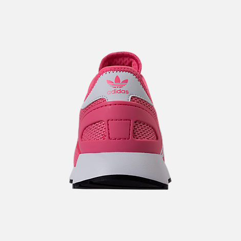 Back view of Girls' Grade School adidas N-5923 Casual Shoes in Chalk Pink/White