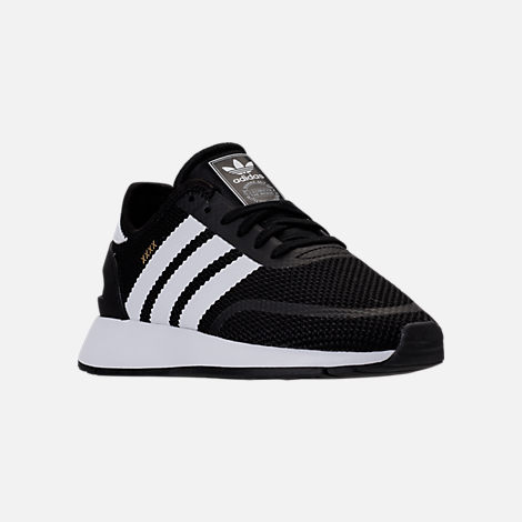 Three Quarter view of Boys' Grade School adidas N-5923 Casual Shoes in Black/White