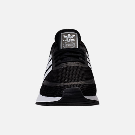 Front view of Boys' Grade School adidas N-5923 Casual Shoes in Black/White