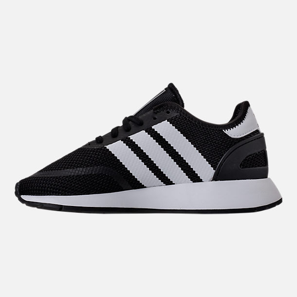 Left view of Boys' Grade School adidas N-5923 Casual Shoes in Black/White