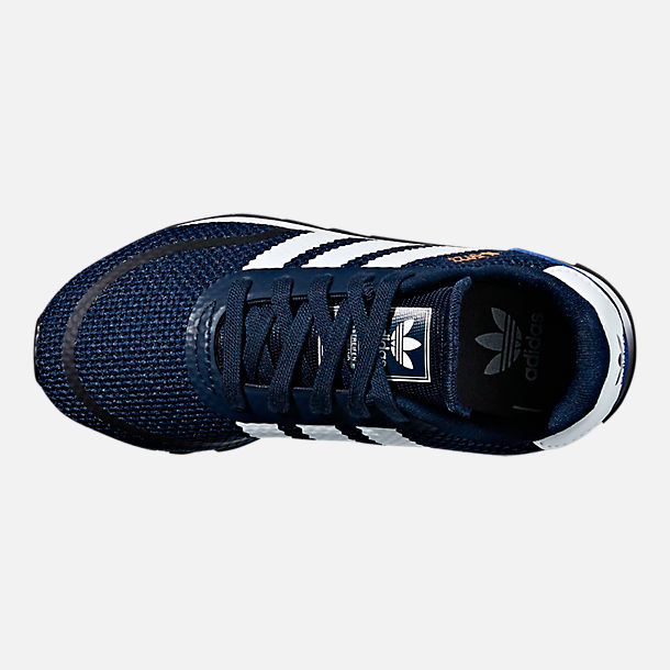 Top view of Boys' Preschool adidas N-5923 Casual Shoes in Collegiate Navy/White