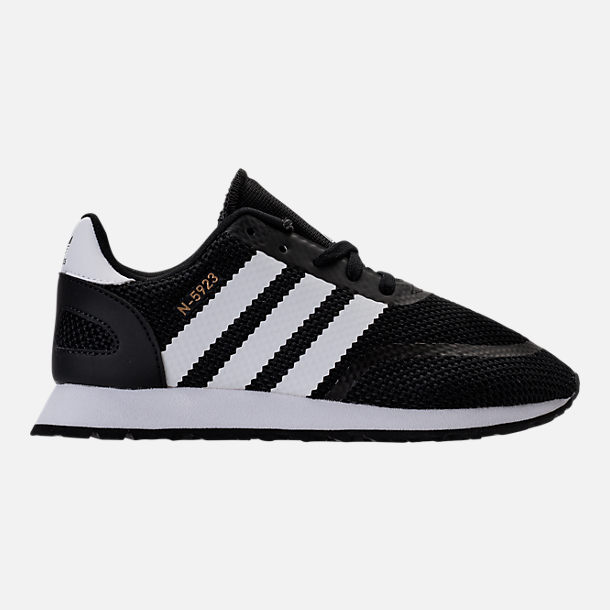 Right view of Boys' Preschool adidas N-5923 Casual Shoes in Black/White