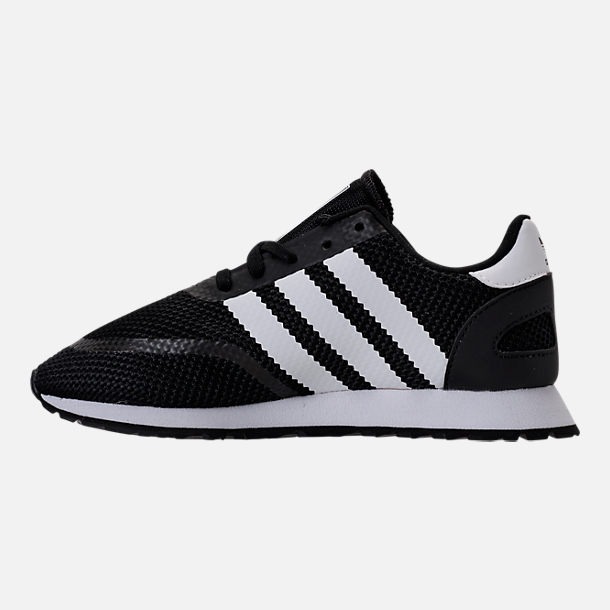 Left view of Boys' Preschool adidas N-5923 Casual Shoes in Black/White