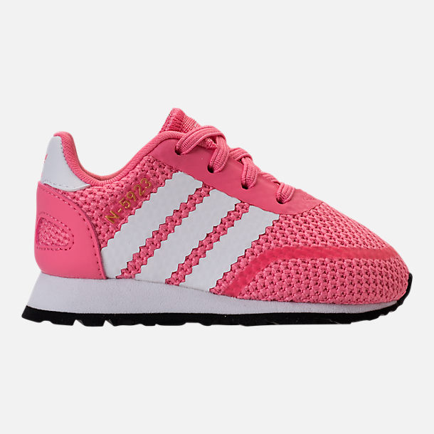 Right view of Girls' Toddler adidas N-5923 Casual Shoes in Chalk Pink/White