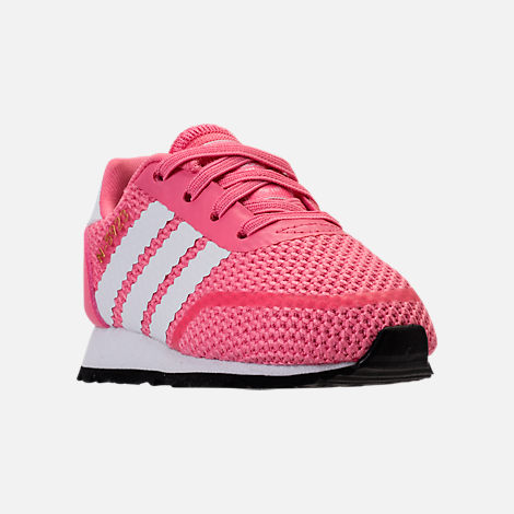 Three Quarter view of Girls' Toddler adidas N-5923 Casual Shoes in Chalk Pink/White