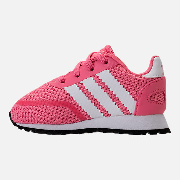 Left view of Girls' Toddler adidas N-5923 Casual Shoes in Chalk Pink/White