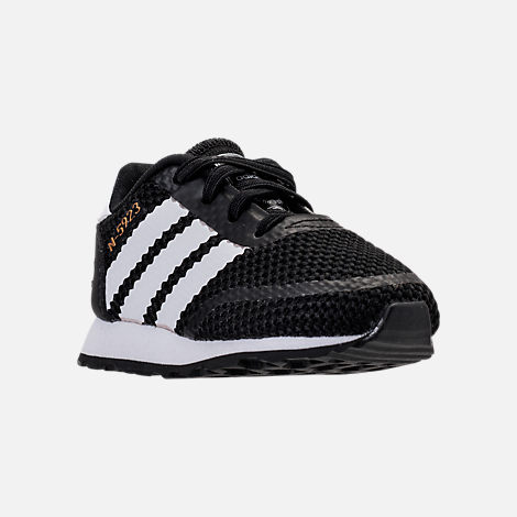 Three Quarter view of Boys' Toddler adidas N-5923 Casual Shoes in Black/White