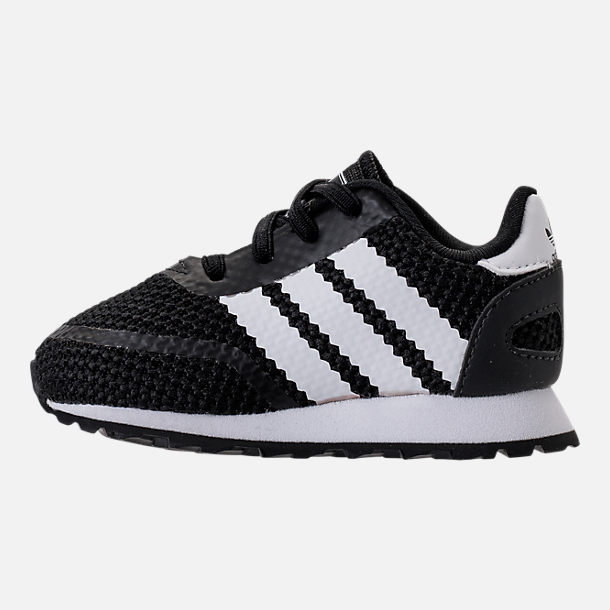 Left view of Boys' Toddler adidas N-5923 Casual Shoes in Black/White