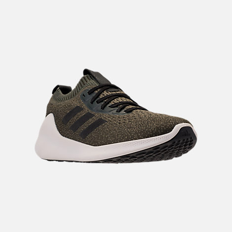 Three Quarter view of Men's adidas PureBounce+ Running Shoes in Base Green/Core Black/Night Cargo