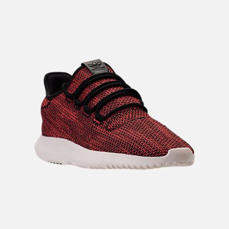 Three Quarter view of Men's adidas Originals Tubular Shadow Circular Knit Casual Shoes in Core Black/Trasca/White