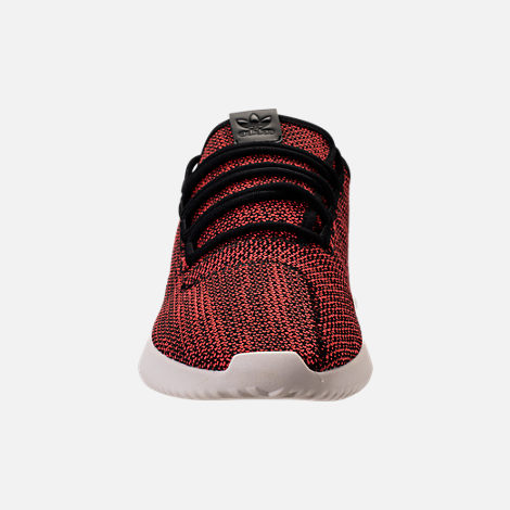 Front view of Men's adidas Originals Tubular Shadow Circular Knit Casual Shoes in Core Black/Trasca/White