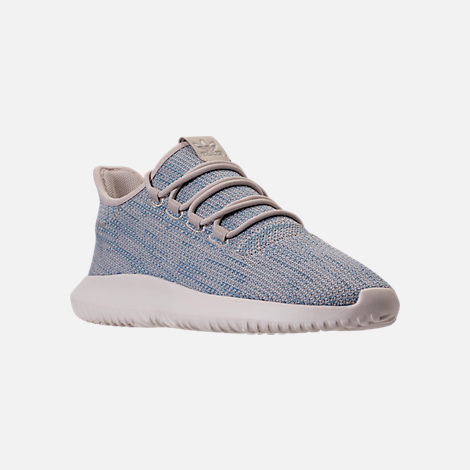 Three Quarter view of Men's adidas Originals Tubular Shadow Circular Knit Casual Shoes in Clear Brown/Light Blue/White