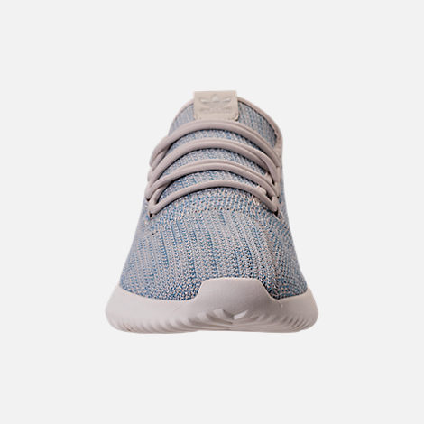 Front view of Men's adidas Originals Tubular Shadow Circular Knit Casual Shoes in Clear Brown/Light Blue/White